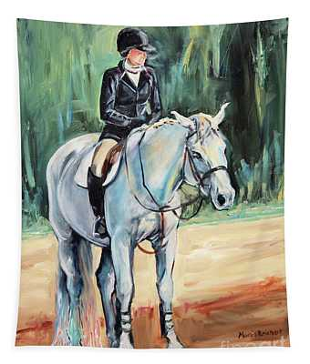Grey Hunt Seat Horse Tapestry