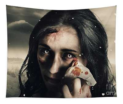 Grim Face Of Horror Crying Tears Of Blood Tapestry