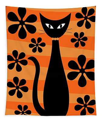 Groovy Flowers With Cat Orange And Light Orange Tapestry