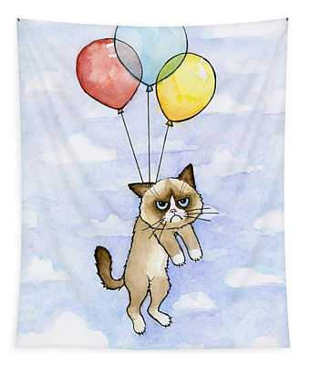 Grumpy Cat And Balloons Tapestry