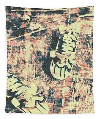 Grunge Skateboard Poster Art Tapestry