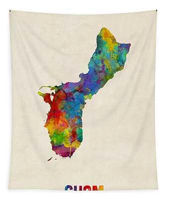 Guam Watercolor Map Tapestry