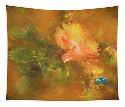 Guarded Robin Blue Oil Tapestry