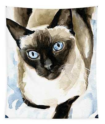 Guardian Angel - Siamese Cat Portrait Tapestry