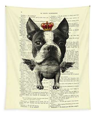 Boston Terrier With Wings And Red Crown Vintage Illustration Collage Tapestry