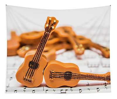 Guitars On Musical Notes Sheet Tapestry