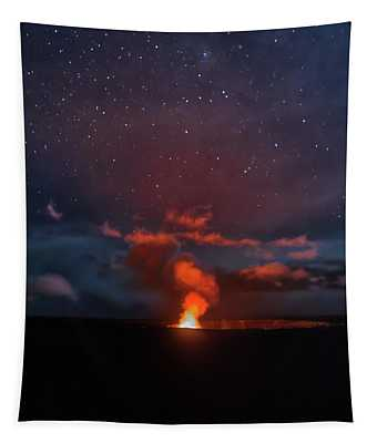 Halemaumau Crater At Night Tapestry