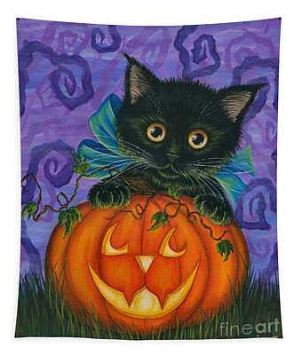 Halloween Black Kitty - Cat And Jackolantern Tapestry