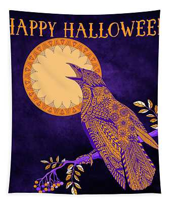 Halloween Crow And Moon Tapestry