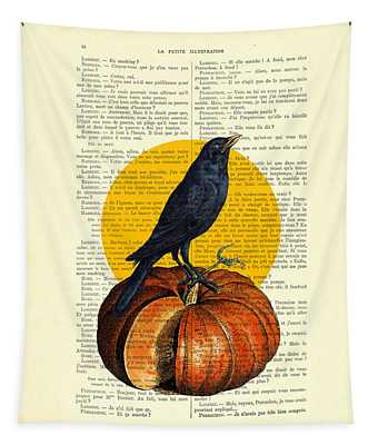 Halloween Pumpkin And Crow Decoration Tapestry