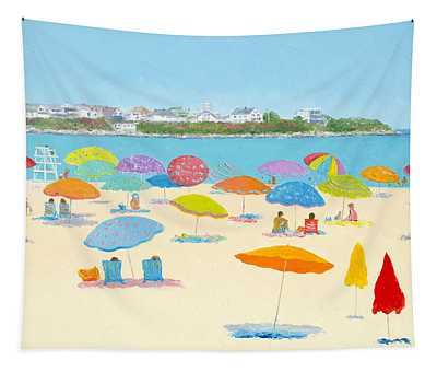 Hampton Beach Umbrellas Tapestry