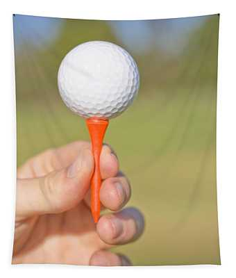 Hand Holding Golf Ball And Tee Tapestry