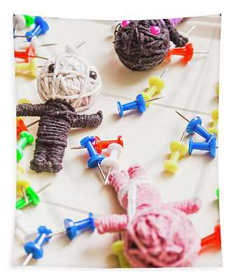 Handmade Knitted Voodoo Dolls With Pins Tapestry