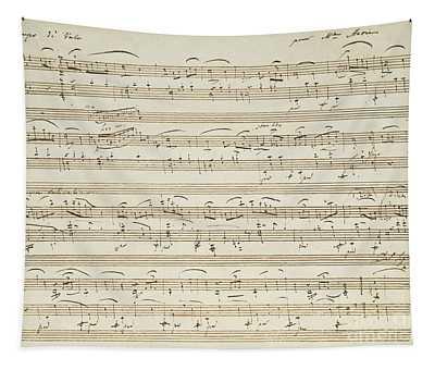 Handwritten Score For Waltz In Flat Major Tapestry