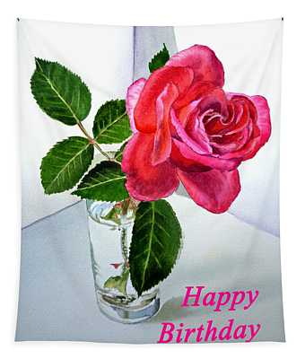 Happy Birthday Card Rose  Tapestry