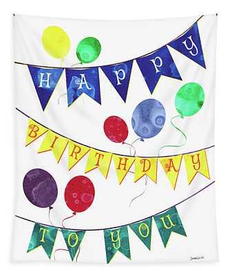 Happy Birthday Flag Tapestry