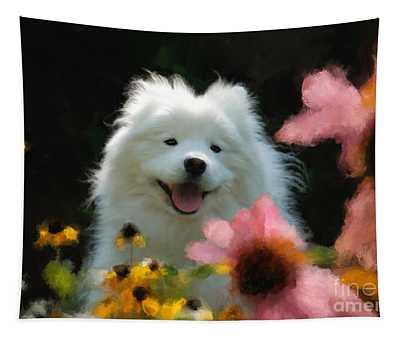 Happy Gal In The Garden Tapestry