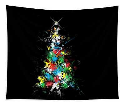 Happy Holidays - Abstract Tree - Horizontal Tapestry
