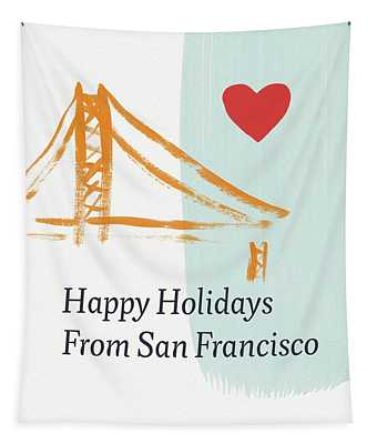 Happy Holidays San Francisco- Art By Linda Woods Tapestry