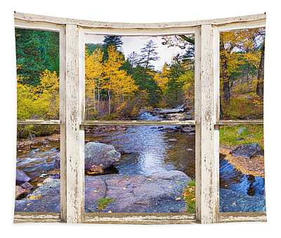 Happy Place Picture Window Frame Photo Fine Art Tapestry