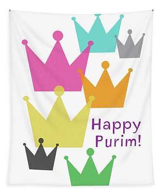 Happy Purim Crowns - Art By Linda Woods Tapestry