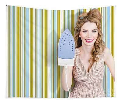 Happy Retro Housewife Holding Iron Tapestry