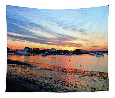 Harbor Sunset At Low Tide Tapestry