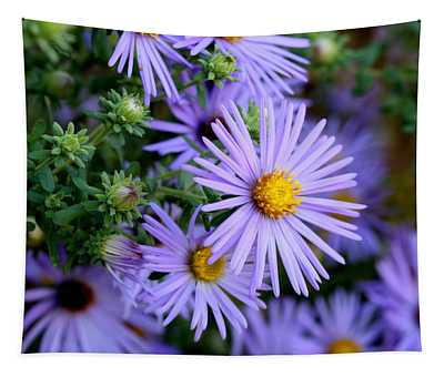 Hardy Blue Aster Flowers Tapestry