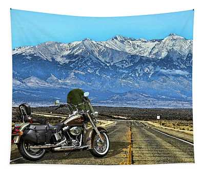 Harley Davidson Heritage Motorcycle On The Doorstep Of The Rockies, Colorado Tapestry
