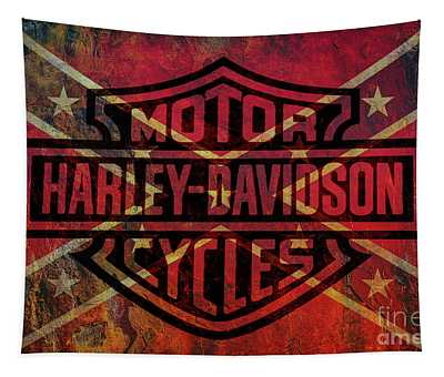 Harley Davidson Logo Confederate Flag Tapestry