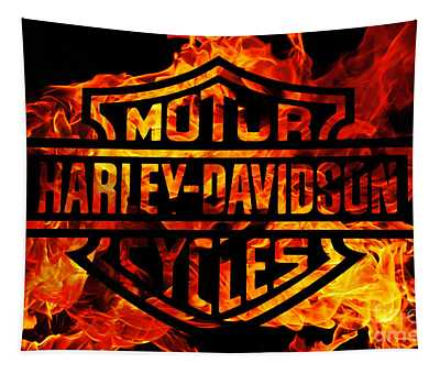 Harley Davidson Logo Flames Tapestry