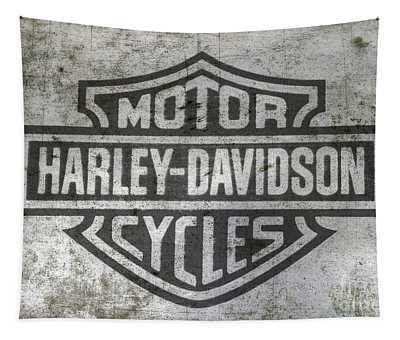 Harley Davidson Logo On Metal Tapestry