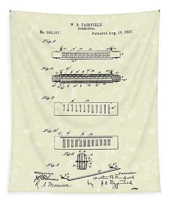 Harmonica Fairfield 1897 Patent Art Tapestry