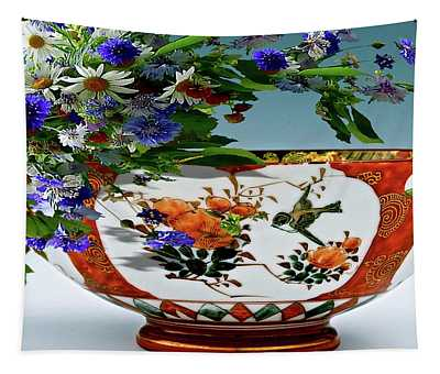 Harmony,  Decorative Bowl, Flowers And A Butterfly Tapestry