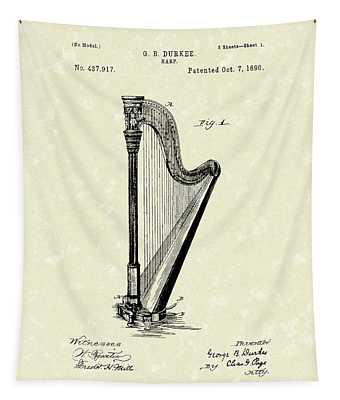 Harp 1890 Patent Art Tapestry