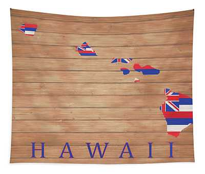 Hawaii Rustic Map On Wood Tapestry