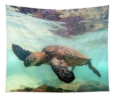 Hawaiian Green Sea Turtle Tapestry