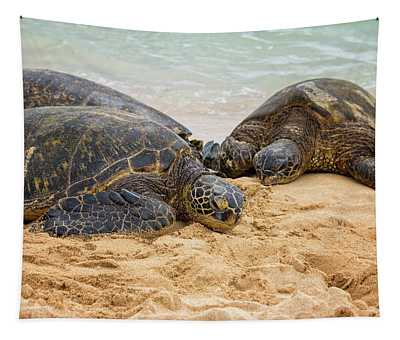 Hawaiian Green Sea Turtles 1 - Oahu Hawaii Tapestry