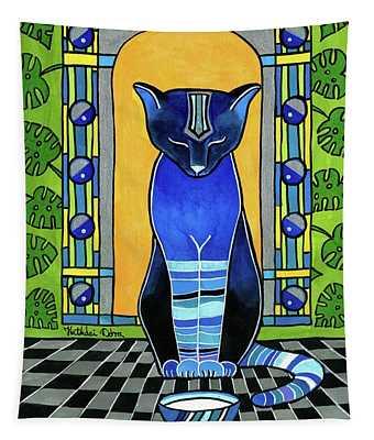 He Is Back - Blue Cat Art Tapestry
