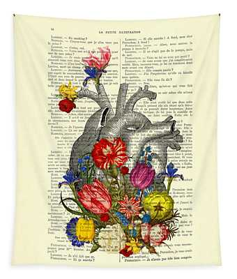 Heart With Colorful Flowers Tapestry