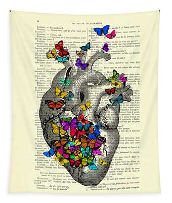 Heart With Rainbow Butterflies Tapestry