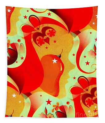 Hearts And Flowers Tapestry
