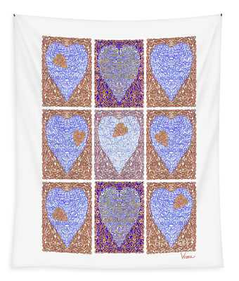 Hearts Within Hearts In Copper And Blue Tapestry
