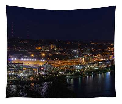 Heinz Field At Night From Mt Washington Tapestry