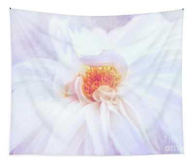 Here Comes The Bride - A Beautiful White Dahlia Tapestry