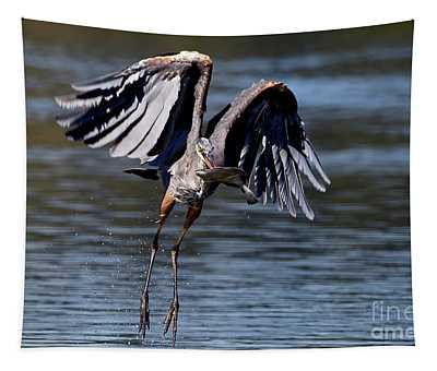 Great Blue Heron In Flight With Fish Tapestry