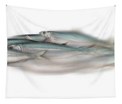 Herring School Of Fish - Clupea - Nautical Art - Seafood Art - Marine Art - Game Fish Tapestry