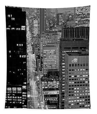 High Angle View Of A City, Fifth Avenue, Midtown Manhattan, New York City, New York State, Usa Tapestry