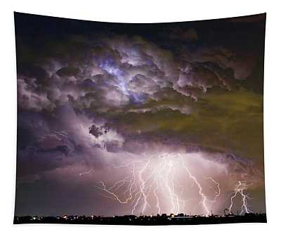 Highway 52 Storm Cell - Two And Half Minutes Lightning Strikes Tapestry