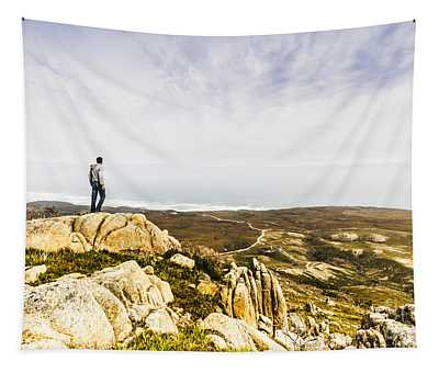 Hiker Man On Top Of A Mountain Tapestry